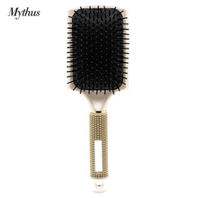 Professional Rubber Handle Paddle Hairbrush No Slip Air Bag Hair Massage Brush For Human And Wig Hair Styling Accessories Tools(China)