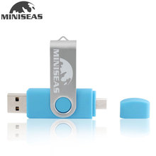 Miniseas OTG usb flash drive swivel pen drive 64gb 32gb 16gb Pendrive usb 2.0 flash drive 8gb customized print logo usb stick