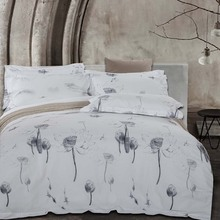 Five Stars Hotel 100% cotton satin Luxury white bedding set bed linen printing duvet cover flat shee King Queen size Embroidered