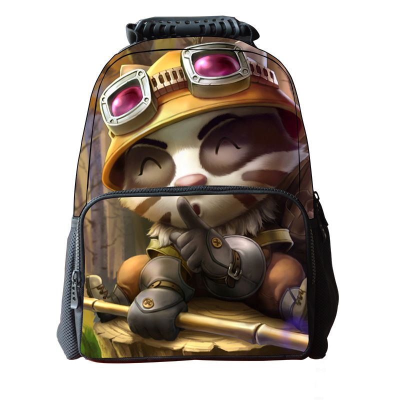 New Student Backpack League of Legends Game Heroes Printing PatternFigure 3D Cool Backpack Leisure Students Durable Student Bag<br>