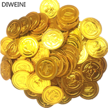 DIWEINI 40pcs Pirates Gold Coins Plastic Toy Coin Gift Game Chip For Kid Man Boy Birthday Party Supplies Birhtday Party Favors(China)
