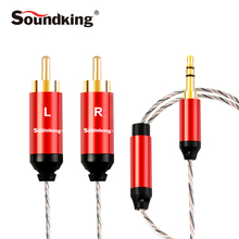 Soundking RCA Cable 2rca to 3.5 audio cable rca 3.5mm jack male to male rca aux cable for amplifier Phone Edifer Home Theate B25(China)