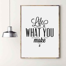 Nordic Typography Minimalist Life Quotes Life is What You Make It Art Canvas Prints Painting Wall Picture Posters For Home Decor