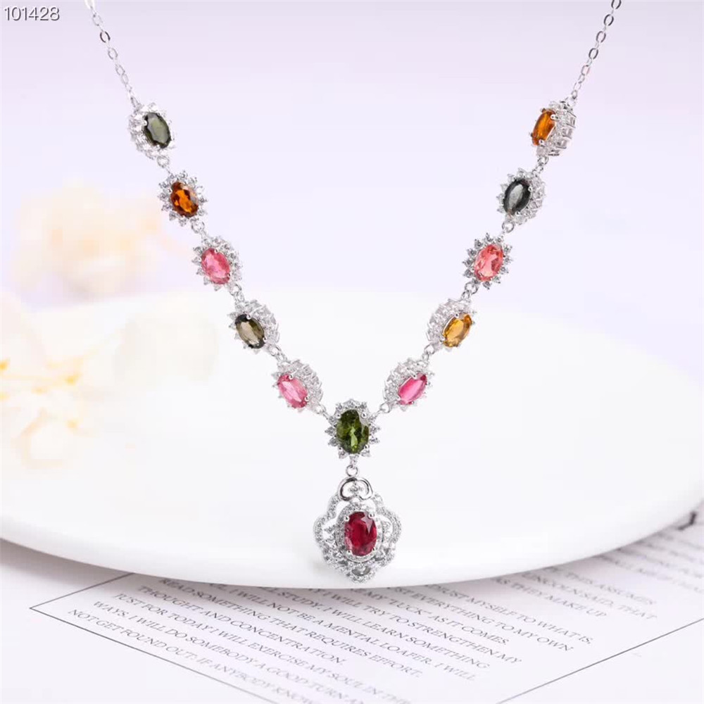 gemstone fine jewelry factory wholesale  925 sterling silver natural colorful tourmaline charm pendant necklace for women