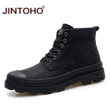 JINTOHO 큰 Size Winter Men Boots Black Genuine Leather Men Shoes Warm 눈 Boots Winter Men Shoes 고무 남성 Boots(China)
