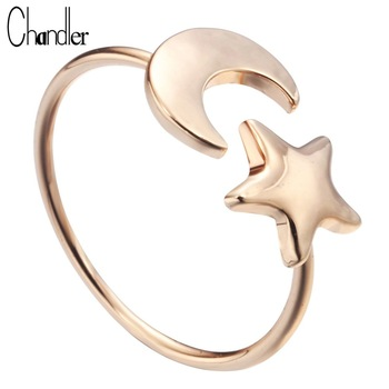 Top Quality Gold Plated Moon Star Ring Handmade Simple Finger Wedding Band Ringen Femme Homme Bijoux Luxury Wholesale 10pcs/Lot