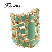 FANHUA Bijoux Women Green White Black Enamel Rings For Women Hollow Out Exaggerated Wholesale Anel Feminino