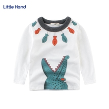 Kids Boys Long Sleeve White Tshirt Sweatshirt Cotton Cartoon Crocodile Print Children Basic Shirt Tops Clothes Kid T shirts(China)