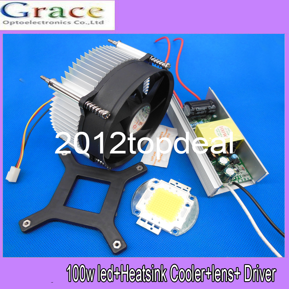 100W 100Watt High Power warm/cool White LED Light +Heatsink Cooler+100W LED Driver 85-265v(China (Mainland))