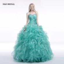 H&S BRIDAL Green Organza Ball Gown Prom Dresses quinceanera dresses sweet 16 robe de soiree quinceanera gowns(China)