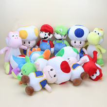 18cm Super Mario Bros Mario Luigi Run Yoshi Mushroom Toad plush stuffed dolls soft Pendant toy with hook(China)