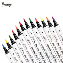 Bianyo 48Color Dual Tip Brush and Fineliner Pen for Artist Design,Soft Watercolor Brush Sketch Marker for Drawing Art Supplier