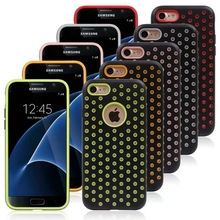 Dot Circle Armor Hybrid Hard Plastic+TPU Case For Iphone 7/Plus Mesh Net Hole ShockProof Defender Rugged Beetle Skin Cover 50pcs