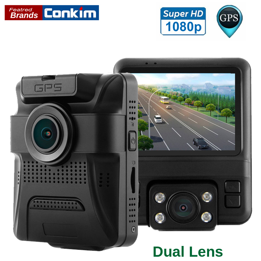 "Conkim Arrival Two Camera Car DVR Black Box Front 1080P+Back 720P Video Registrar Built In GPS G-sensor 2.4"" LCD GS65H Dual Lens(China)"