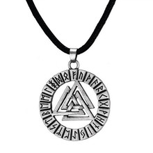 Retro Norse Vikings Valknut Pendant Necklace Stainless Steel Symbol Amulet Antique Silver Color Vintage Jewelry Accessories