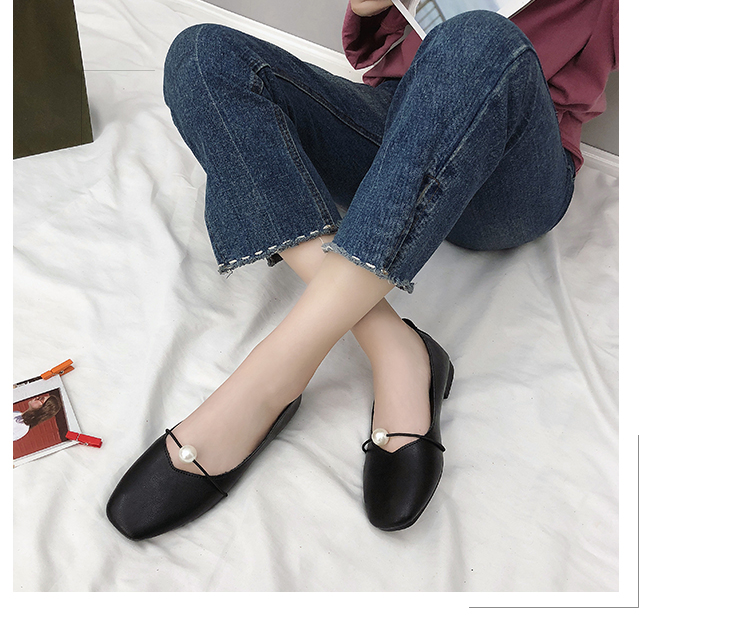 2018 Autumn Women Flats Soft Leather Casual Shoes Flexible Zapatos Mujer  Fashion Pearl Ballet Flats Slip On Loafers Boat Shoes 835413e0a426