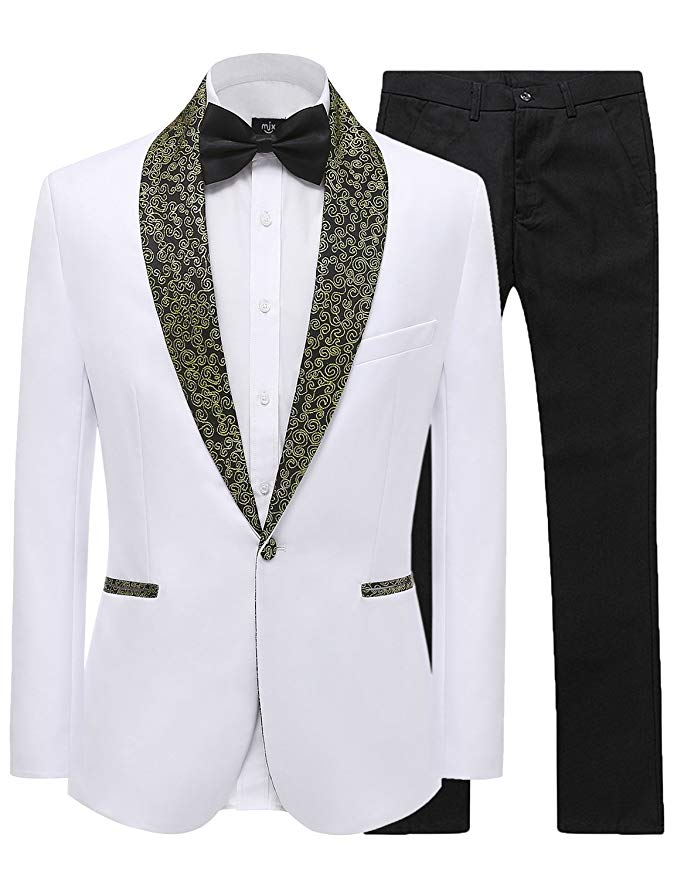Pattern Shawl Lapel Tailor Made White Men Suits for Wedding Groom  Tuxedo Men Blazer Slim Fit Suit Best Men Prom Party 2 Pieces