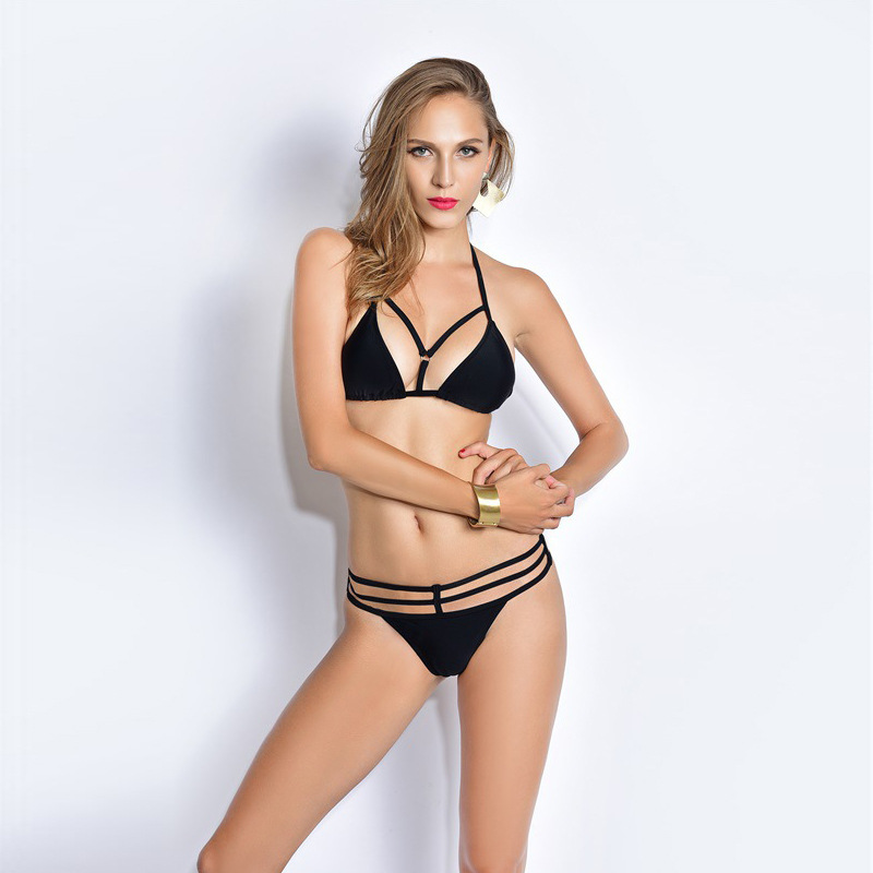 2016 New Swimwear Padded Push Up Black Bikini Top Criss Cross Bandage Swimwear Women Hollow Two-piece Swimsuit Sexy Bathing Suit<br><br>Aliexpress