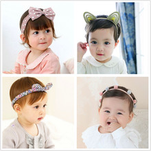 2PCS Girls pompom crown Headband Newborn Kids Cotton elastic head band DIY ear bowknot hair bands toddlers Hair Accessories D73(China)