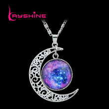 Vintage Necklace Antique Silver Color Blue Purple Earth Moon Space Skyrim necklaces & pendants Cheap Costume Jewelry collier(China)
