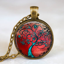 2017 new hot Fine jewelry Tree of Life Necklace Bronze Red Tree of Life Jewelry Art photo handmade Pendant Friend Family Gift