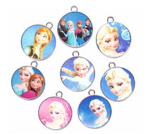 50pcs Cartoon elsa anna princess mixed circular Enamel Metal Charm Pendants DIY Jewelry Making Mobile Phone Accessories z-0047