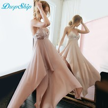 Buy Dropship Summer Party Sexy Pink Sequin Dress 2018 Sleeveless Spaghetti Strap Women Dress Deep V-neck Halter Ankle-length Dresses