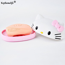 Hello Kitty Soap Box Cartoon Soap Holder Plastic Soap Dish Plate Bathroom Storage Accessories 2B(China)