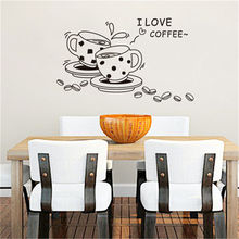 1PCS I love coffee wall Sticker decal removable cute coffee cup wall sticker Kitchen Restaurant vinyl wall stickers Home Decor(China)