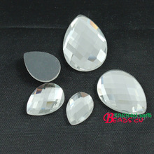 wholesale 50pc/lot  faceted clear teardrop crystal Flatback   Rhinestones glass stones for jewelry makings very shine