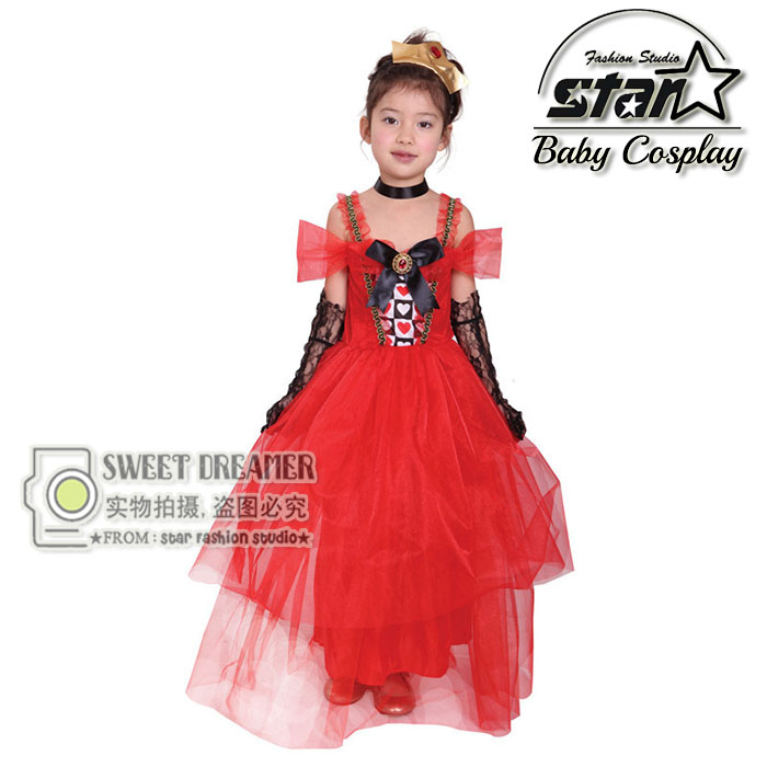 Girls Alice In Wonderland Red Queen Cute Mesh Princess Dress Children Halloween Christmas Costume Carnival Performance Wear<br>