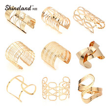 Shineland New Fashion Unisex Multiple Style Charm Bracelets For Women Men Simple Geometric Multilayer Pop Punk Big Metal Bangles