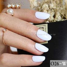 24pcs new product hot sales candy oval decorative fake nails short round section White comfortable false nails R26-W