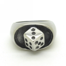 Newest Unique Design Band Play Club Dice Ring Charm Jewelry Hot 316L Stainless Steel Silver Rings Men GIft(China)