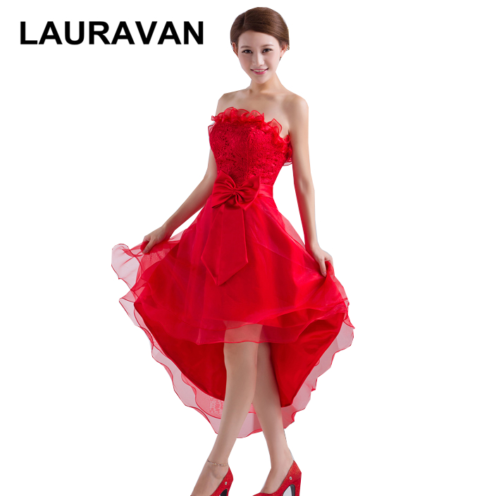 girls red strapless high low short in front long in back bridesmaid tulle dress with bow for woman bride maids free shipping