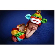 Handmade Crochet Knitted Newborn Photography Props Colorful Monkey style Crochet Baby Hat and Pants 0 - 6 M GM068(China)