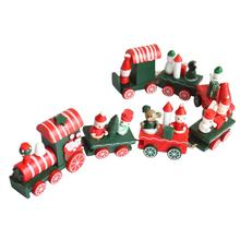 7 Pieces Wood Train Mini Train Vehicle toy Wooden toy Christmas Xmas Train Gift Christmas Toys for children