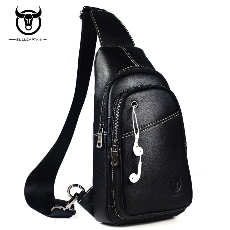 BULLCAPTAIN Fashion Men Bag Genuine Leather Man Crossbody Bags High Quality Chest Pack Travel Casual Shoulder Bag <br>
