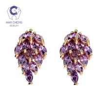 HanCheng New Fashion Luxury Golden Nail Leaf CZ Cubic Zirconia Gem Stone Zircon Stud Earrings For Women Jewelry brincos bijoux
