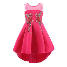 Retail Heart Collar Cute Embroidery Flower Girls Dress Taffeta Mesh Sleeveless Girls Trailing Dress For Wedding Party Dress L560(China)