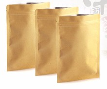 OEM LOGO kraft paper Sealable Aluminum foil inside ziplock food candy package bag small Flat Bottom gold zip lock bag 100pcs(China)
