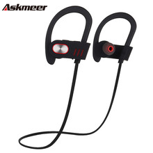 Askmeer V5 Bluetooth Earbuds Handsfree Headset Blue tooth Earphones Ear Hook Wireless Sport Running Earpieces With Mic for Phone(China)