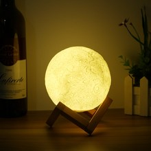 13cm Novelty 3D Full Moon Lamp LED Night Light USB Rechargeable Color Changing Desk Table Light Home Decoration(China)