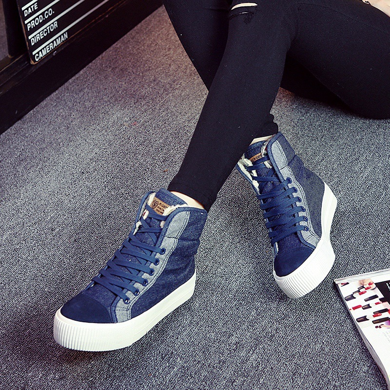 Winter Autum High Top Thick Cotton Shoes for Women 2017 Thick Sole Warm Fur Ankle Boots Fashion Lace up  Martin Boots Woman<br><br>Aliexpress