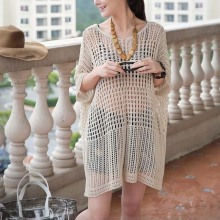 2017 New Women's Beachwear Solid Half Sleeve Hollow Out Net Sun Block Cover Ups Large code loose(China)