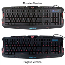 Russian/English Version Gaming Keyboard Wired Adjustable 3 Colors LED Backlit Design Gaming Keyboard for Computer Laptop Gamer
