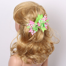 Fashion girls dot ribbon bow hairclip lovely girl's butterfly hairpin/hairgrips kids hair wear children accessories