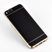 Fundas For Xiaomi Mi6 M6 Carcasa Leather Grain Back Cover For Xiaomi Mi6 M6 Plating TPU Soft Silicone Case Phone Bags Cases