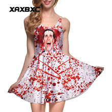 NEW 1110 Sexy Girl Women Summer scream men Blood Splatter Mess 3D Prints Reversible Sleeveless Skater Pleated Dress(China)