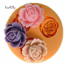 Ledifly Brand New Beauty Flower Shape 3D Rose Silicone Mold Chocolate Fondant Cake Sugarcraft Baking Decorating Tool